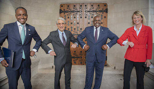 President Masisi's visit to Yale (pictured left to right: Yale's Eddie Mandhry, President Peter Salovey, President Masisi, and YSE Dean Indy Burke).