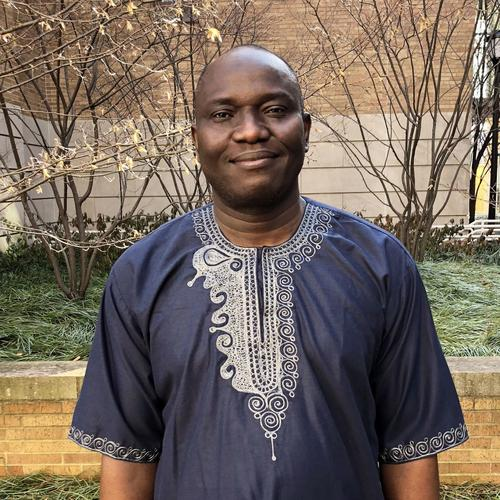 Oluseye Adesola, photographed near his office at Rosenkranz Hall