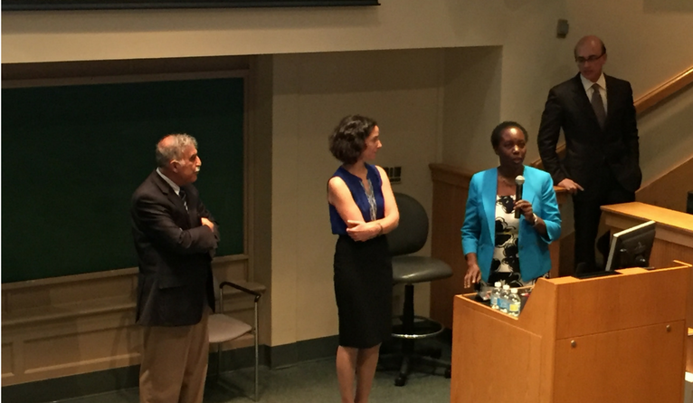 Asghar Rastegar, Harriet Mayanja-Kizza, Tracy Rabin, and Gary Desir (Chair, YSM Department of Internal Medicine) presenting at Department of Internal Medicine Grand Rounds in September 2016.