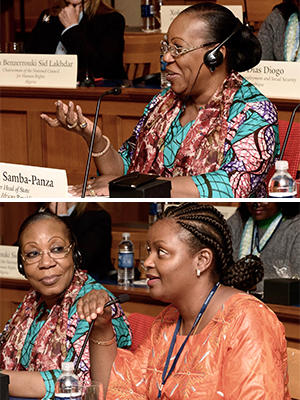 Her Excellency Catherine Samba Panza, former President of the Central African Republic (top) and Hon. Isata Kabia, Minister of Social Welfare, Gender and Children's Affairs in Sierra Leone during a Leadership Forum for Strategic Impact event in 2017.