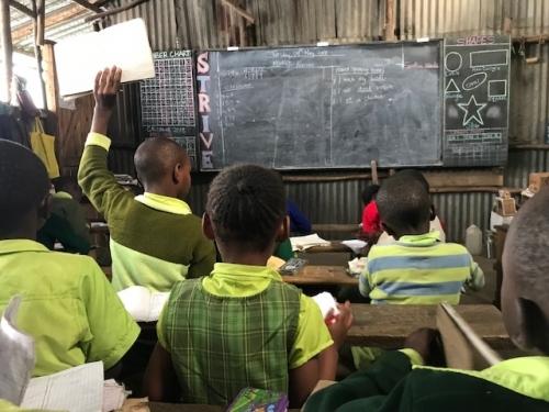 Bridge pupils learning math.