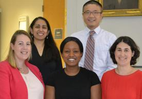 Christine Ngaruiya, M.D., MSc, DTM&H (center), with other Yale recipients of Hecht-Albert Pilot Innovation Award for Junior Faculty.