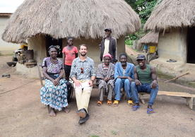 Ethan Timmins-Schiffman with some residents of Gbangbadou, one of the larger towns on the road between Kankan and Kissidougou. Moustapha Camara, resident of Gbangbadou and Ethan's guide/translator there, suggested interviewing this particular family because the oldest generation could speak to how life in the town changed as a result of the road's construction in the 70s and 80s.