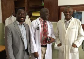 Yale's Dr. Onyema Ogbuagu (left) with Dr. Ssentamu, acting chair of Medicine at JFK Medical Center in Liberia (middle), and Dr. Joseph Njoh, senior faculty in Department of Medicine (right).